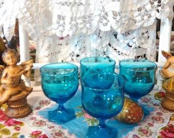 Gorgeous Vintage Imperial Blue Sherbet Brandy Water Glasses Cottage Centerpiece Home Decor