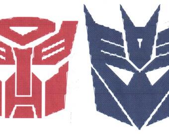Transformers Autobots & Decepticons Logo Cross Stitch Pattern Ornaments size Instant Download