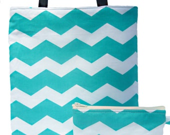 Chevron turquoise blue print.  Matching set Reversible tote bag and makeup bag
