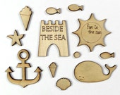 Seaside Wood Craft Shapes, Seaside Smiles Wood Veneer Shapes, Sea Wood Shapes, Sea Embellishments, Beach Scrapbooking, Holiday Craft Shapes