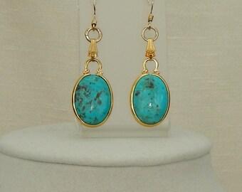 Gold turquoise dangle earrings,Turquoise gold dangle earrings,Summer fashion,Oval gemstone earrings,December birthstone
