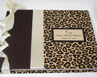 Cheetah Guestbook, Bridal Shower Book, Leopard Guest Book, Animal Print Guest Book (Custom Colors Available)