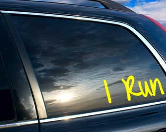 I Run Car sticker, I run car decal, I run gifts for runners