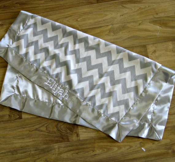 Cuddly Chevron Blanket in Chevron Minky and Satin