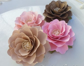 Paper Flowers - Weddings - Birthdays - Elizabeth Rose - Pink and Tan - Set of 40 - ANY COLOR - Made To Order