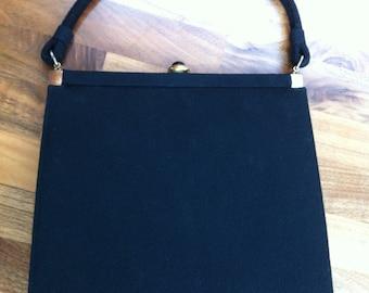 1950s Lewis Black Wool Frame Purse
