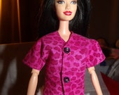 Fashion Doll Coordinates - Bright pink Leopard print top with buttons - es294