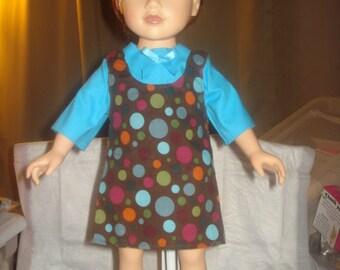 Blue and brown polka dot jumper set for 18 inch Dolls - ag214