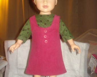 Jumper in wine cordoroy and green floral top for 18 inch Doll - ag213