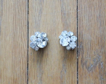 Vintage 50's Clear Rhinestone Clip On Earrings