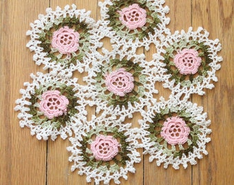 Antique 30's/40's Crochet Cream, Pink and Chartreuse Floral Doily