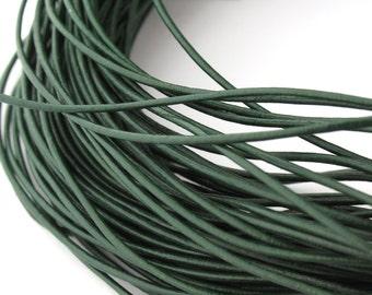 LRD0105132) 0.5mm Bright Green Genuine Round Leather Cord.  1 meter, 3 meters, 5 meters, 11.3 meters.  Length Available.