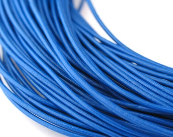 LRD0110006) 1.0mm Blue Genuine Round Leather Cord.  1 meter, 3.4 meters, 5 meters, 10 meters, 17.4 meters.  Length Available.