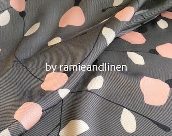 "silk fabric, floral print silk linen twill fabric, one yard by 54"" wide"