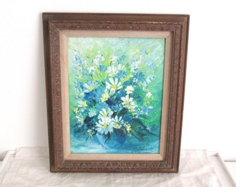 Vintage Floral Oil Painting - Still Life Flowers - Patricia Geisheker