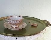 1940's Rudolf Wächter RW Germany/Bavaria Fine Lusterware Teacup Gold Gilt Chintz Teacup & Saucer