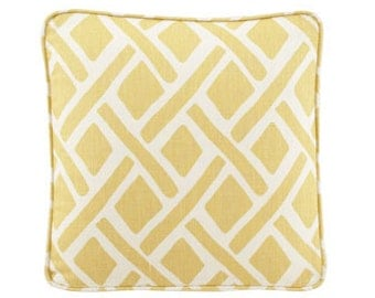 Yellow, gold geometric pattern lumbar or square pillow cover