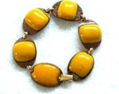 Vintage Kay Denning Bracelet Butterscotch Enamel Copper Signed