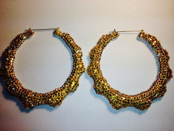 4 inch Bamboo Earrings Canary's made wuth Swarovski Elements