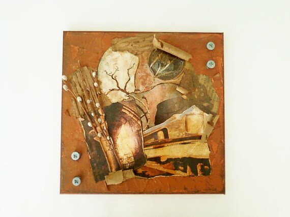 Mixed Media Photo Collage Painting Rustic Elements