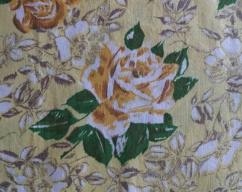 Vintage Yellow Rose Floral Cotton Fabric