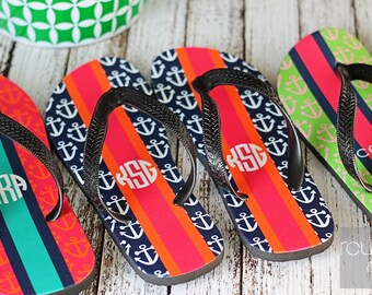 PREPPY ANCHORS personalized monogram flip flops for adults and kids