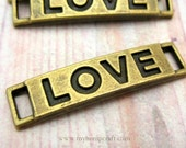 Love Word Connectors, 8pc Antiqued Bronze Bar Links, 28x7mm