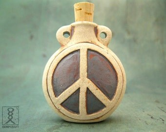 Peace Sign Ceramic Bottle Pendant, High Fired Clay Vessel, Peace Symbol, 1pc