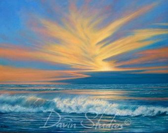 "Sunset over the ocean, waves crashing, seascape, ocean signed art print called ""The Golden Hour."""