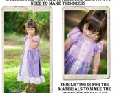 Rapunzel Dress DIY Kit, Includes all the fabric, trims, and pattern you need to make your own dress, Sizes 1/2-4