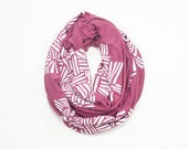 INFINITY SCARF - Screen Printed - White Crosshatch on Mauve