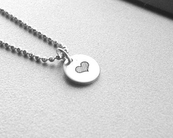 Hand Stamped Heart Necklace, Sterling Silver Jewelry, Small Heart Necklace, Hand Stamped Jewelry, Heart Charm Necklace, Heart Pendant