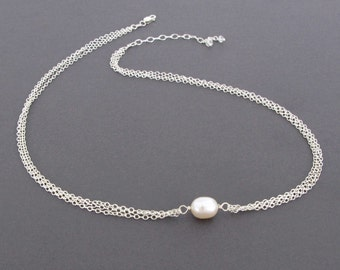 Single Pearl Necklace, Genuine Pearl Jewelry, White Freshwater Pearl and Sterling Silver Necklace, Real Pearl Necklace, June Birthstone