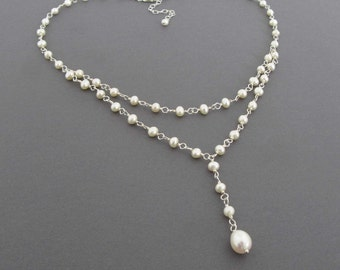 Elegant Pearl Necklace, Dressy Pearl Jewelry, White Freshwater Pearl and Sterling Silver Necklace, Genuine Pearl Necklace, Made in USA