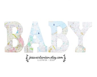Custom BABY shower Map Wood Letters 9 x 6in