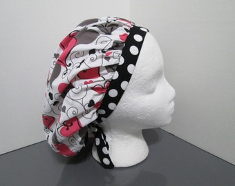 Caring Hearts with Coordinating Polka Dots Bouffant Surgical Scrub Cap