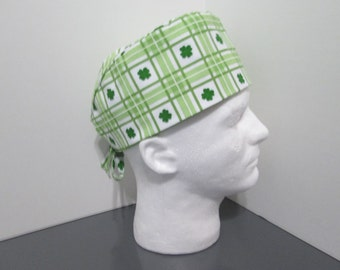 St. Patrick's Day Green and White Plaid with Shamrocks Surgical Scrub Cap
