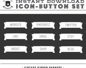 INSTANT DOWNLOAD - Set of 9 White Vintage Ribbon Banner Social Buttons/Icons -  for your Blog or Website