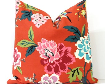 Modern Blue and Orange Decorative Designer Pillow Cover Accent birds floral chinoiserie teal neon pink purple grey yellow lime green nature
