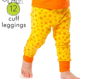 Baby leggings pdf pattern with cuffs // photo tutorial // sizes Preemie-6T // #12