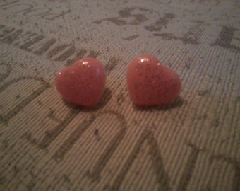 Pink and Gold Glitter Heart Post Earrings