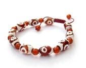Three Eye Dzi Tibetan Agate Barrel Beads Amulet Bracelet  T3145