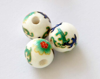 10mm 15Pcs Round Vintage Style Flower Porcelain Loose Beads Finding--15Pieces  ja444