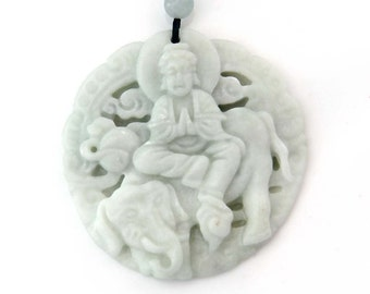 Tibet Buddhist Kwan-Yin Pu-Sa Elephant Natural Stone Amulet Charm Pendant 45mm x 45mm  TH272
