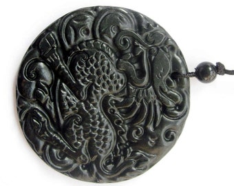 Natural Stone Carved Chinese Kylin Qilin Dragon Protective Amulet Pendant 45mm x 45mm  TH106