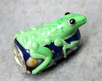 1Pc Murano Glass Bead Fit European Charm Bracelet Frog 19mm x 15mm x 11mm  jaz488