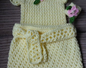 Crochet Baby and Toddler Shirt and Skirt with Matching Wrist Rattle