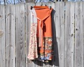Boho Rustic Wrap Skirt/ T Shirt Wrap Skirt  with Tribal Print/ Sunset Skirt/ Womens Upcycled CLothing