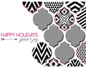 BLACK/WHITE CHEVRON: Holiday Photo Card Printable or Professionally Printed Cards...