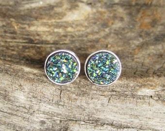 Tiny Green Druzy Studs Titanium Drusy Quartz Sterling Silver Bezel Set Earrings Rhodium Plated